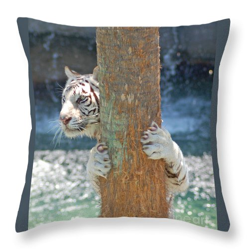White Throw Pillow featuring the photograph White Tiger by Stephen Whalen