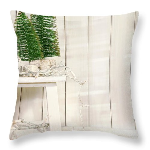 Bright Throw Pillow featuring the photograph White Tree Lights by Sandra Cunningham