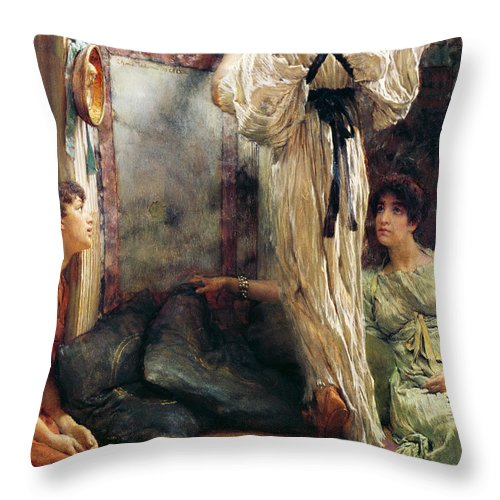 Who Is It? Throw Pillow featuring the painting Who Is It by Sir Lawrence Alma-Tadema
