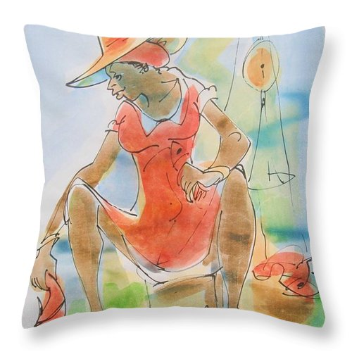 Ken Spencer Throw Pillow featuring the painting Whole Snapper by Carey Chen