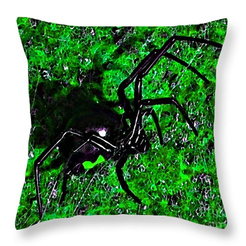 Black Widow Spider Throw Pillow featuring the photograph Wicked Widow - Green by Al Powell Photography USA