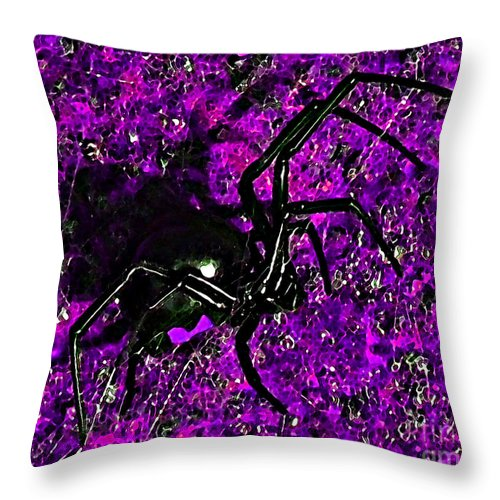 Black Widow Spider Throw Pillow featuring the photograph Wicked Widow - Purple by Al Powell Photography USA