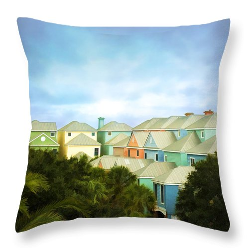 Wild Dunes Throw Pillow featuring the painting Wild Dunes Rainbow Row by Steven Richardson