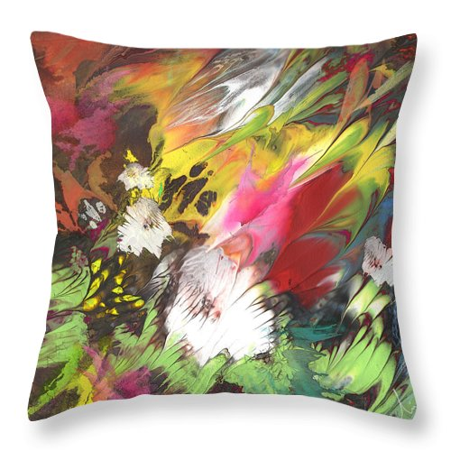 Flowers Throw Pillow featuring the painting Wild Flowers 04 by Miki De Goodaboom