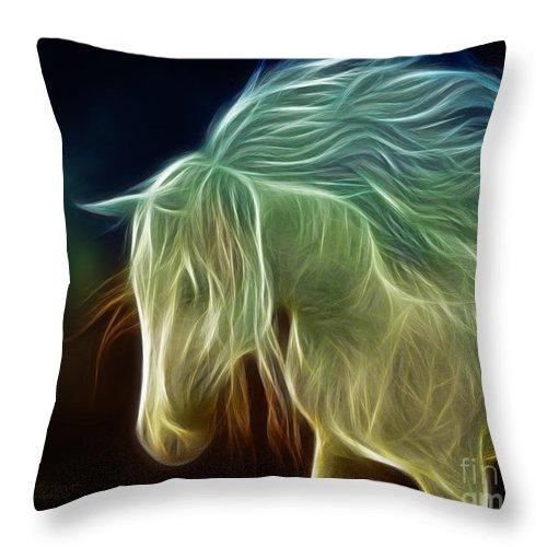 3d Throw Pillow featuring the digital art Wild Horse by Jutta Maria Pusl