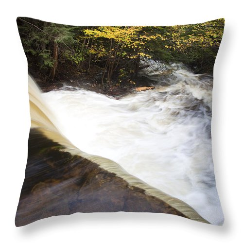 Swift River Throw Pillow featuring the photograph Wilderness Waterfall Autumn Stream by John Stephens