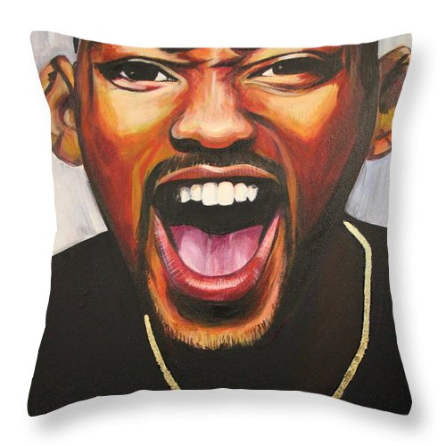Will Smith Throw Pillow featuring the painting Will Smith by Kate Fortin