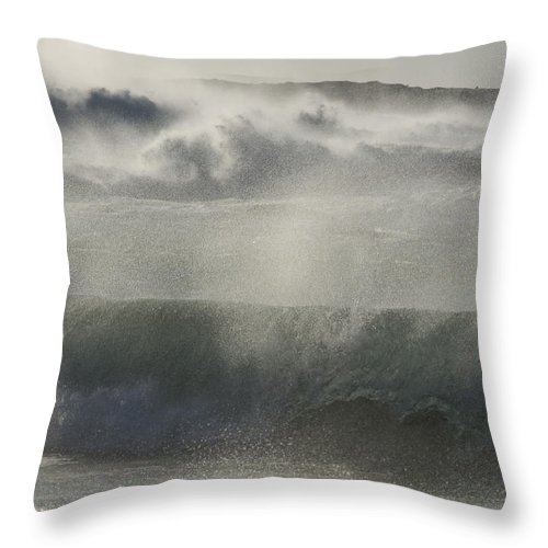 Camps Bay Throw Pillow featuring the photograph Wind Thrashes The Waves At Camps Bay by Stacy Gold