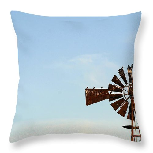 Agriculture Throw Pillow featuring the photograph Windmill-3768 by Gary Gingrich Galleries