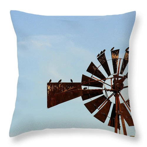 Agriculture Throw Pillow featuring the photograph Windmill-3772 by Gary Gingrich Galleries