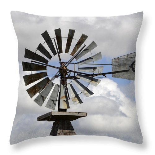 Windmill Throw Pillow featuring the photograph Windmill 6 by Bob Christopher