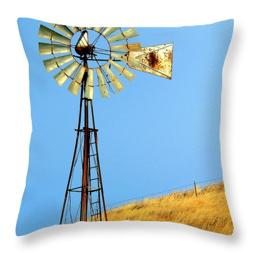 Windmill Throw Pillow featuring the photograph Windmill On Golden Hill by Jeff Lowe