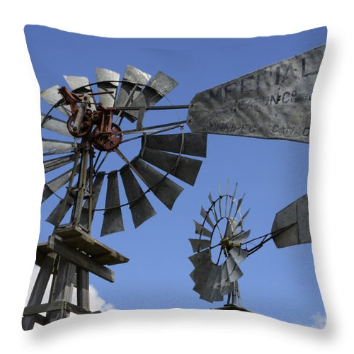 Windmill Throw Pillow featuring the photograph Windmills 3 by Bob Christopher