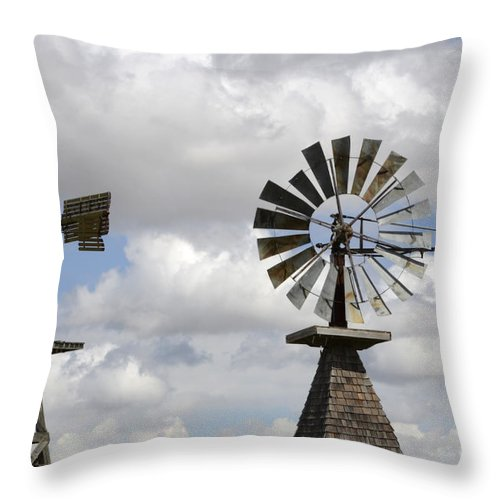 Windmill Throw Pillow featuring the photograph Windmills 5 by Bob Christopher
