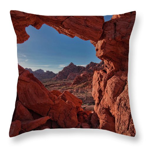 Nevada Throw Pillow featuring the photograph Window On The Valley Of Fire by Rick Berk