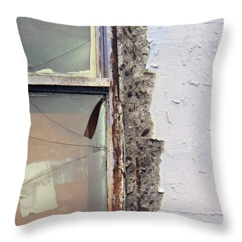 Abstract Throw Pillow featuring the photograph Window Pain by Pamela Patch