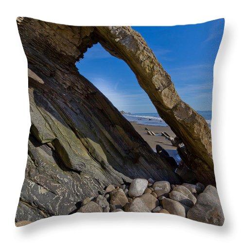 Goleta Pier. Goleta Beach Throw Pillow featuring the photograph Window To The Beach by Roger Mullenhour