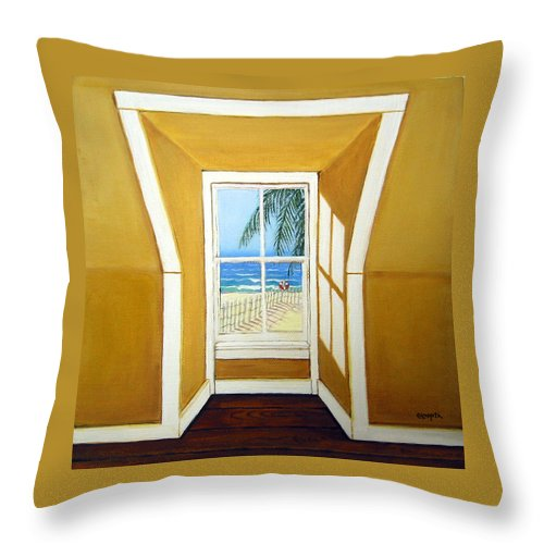 Beach Throw Pillow featuring the painting Window To The Sea No. 3 by Rebecca Korpita
