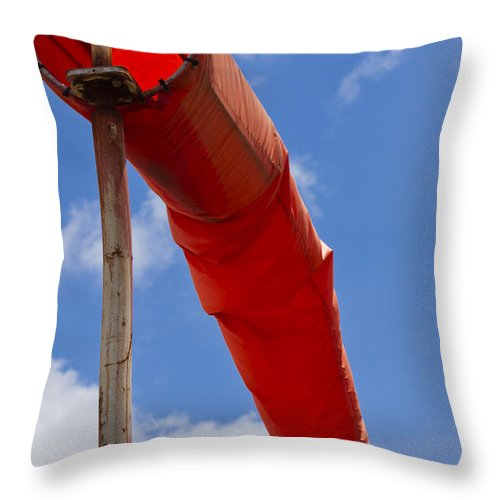 Windsock Throw Pillow featuring the photograph Windsock by Roger Wedegis