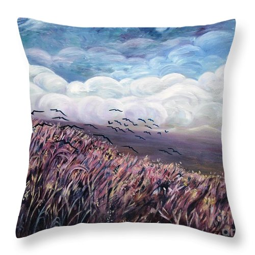 Landscape Throw Pillow featuring the painting Windy Day by Caroline Street