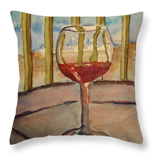 Red Wine Throw Pillow featuring the painting Wine By The Water by Elaine Duras
