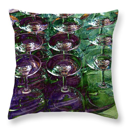 Wine Glasses Throw Pillow featuring the digital art Wine Goblets by Will Borden