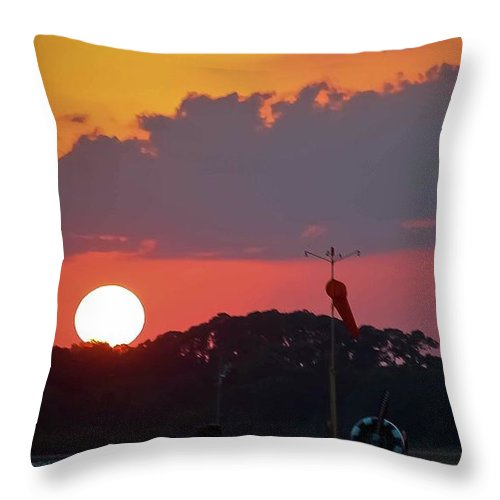 Sunset Throw Pillow featuring the photograph Wings At Rest Under The Sunset by DigiArt Diaries by Vicky B Fuller