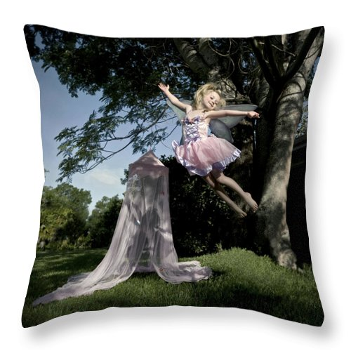 Fairy Throw Pillow featuring the photograph Wings by Glennis Siverson
