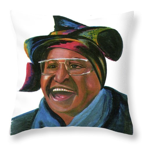 Portraits Throw Pillow featuring the painting Winnie Madikizela Mandela by Emmanuel Baliyanga