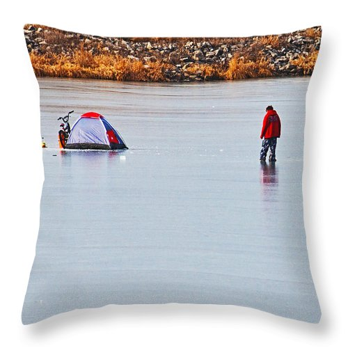 Winter Scene Throw Pillow featuring the photograph Winter Fun by Edward Peterson