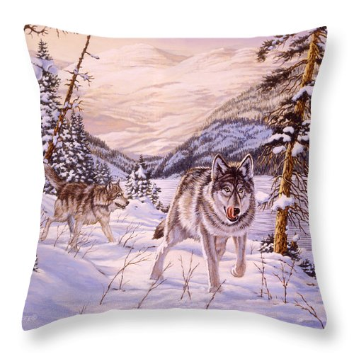 Wolf Throw Pillow featuring the painting Winter Hunt by Richard De Wolfe