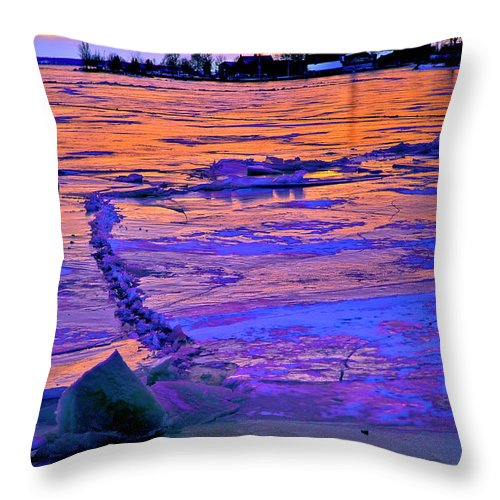 Ice Throw Pillow featuring the photograph Winter Ice by Burney Lieberman