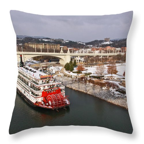 Winter Throw Pillow featuring the photograph Winter In Coolidge Park by Tom and Pat Cory