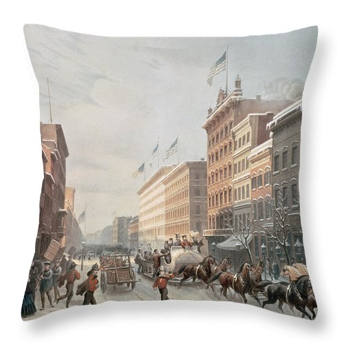 Winter Scene On Broadway Throw Pillow featuring the painting Winter Scene On Broadway by American School