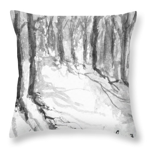 Landscape Throw Pillow featuring the painting Winter Shadows by Fred Wilson
