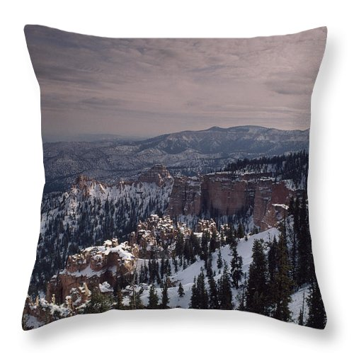 Color Image Throw Pillow featuring the photograph Winter Snow Covers The Landscape by Gordon Wiltsie