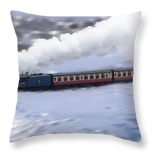 Winter Steam Train Throw Pillow featuring the photograph Winter Steam Train by Cliff Norton