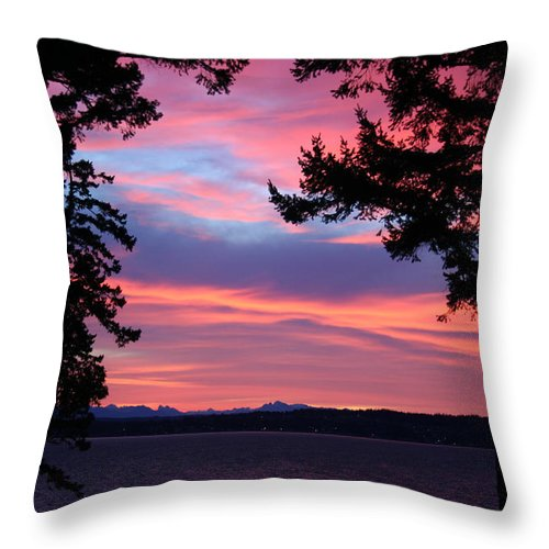 Winter Sunrise Throw Pillow featuring the photograph Winter Sunrise by Mary Gaines