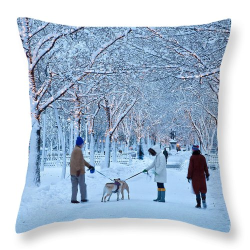Back Bay Throw Pillow featuring the photograph Winter Twilight Walk by Susan Cole Kelly
