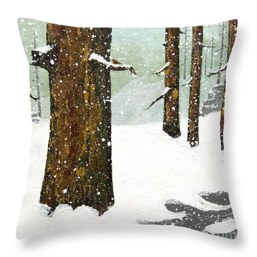 Pine Trees Throw Pillow featuring the painting Wintering Pines by L J Oakes