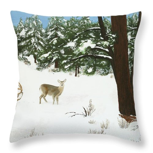 Winterscape Throw Pillow featuring the painting Wintering Whitetails by L J Oakes