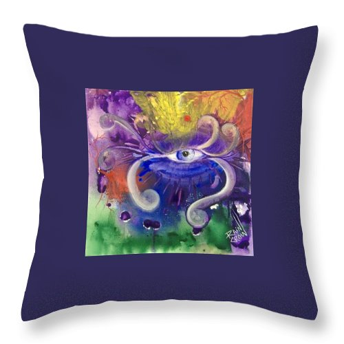 Eye Throw Pillow featuring the painting Wisdom by Rain Crow