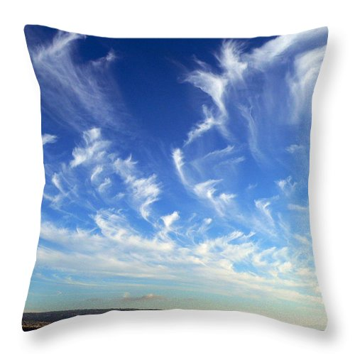 Wispy Clouds Throw Pillow featuring the photograph Wispy Clouds by Jeff Lowe