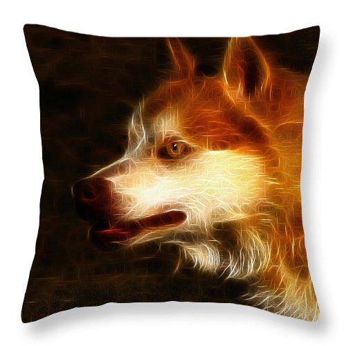 Dog Throw Pillow featuring the photograph Wolf Or Husky - First Place Win In 'angry Dog Contest' by Ericamaxine Price