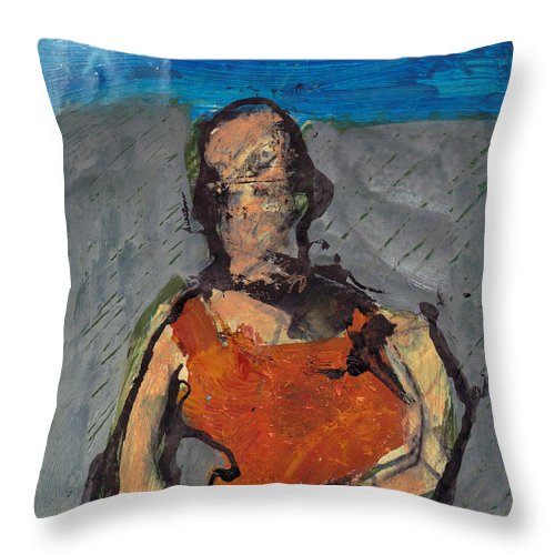 Landscape Throw Pillow featuring the mixed media Woman In Landscape by JC Armbruster