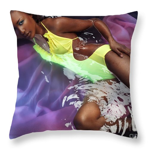 Swimsuit Throw Pillow featuring the photograph Woman In Swimsuit Lying In Water by Oleksiy Maksymenko