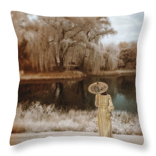 Young Throw Pillow featuring the photograph Woman In Vintage Dress With Parason By Lake by Jill Battaglia