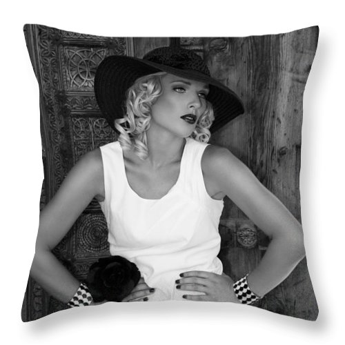 Female Throw Pillow featuring the photograph Woman In White Bw by William Dey