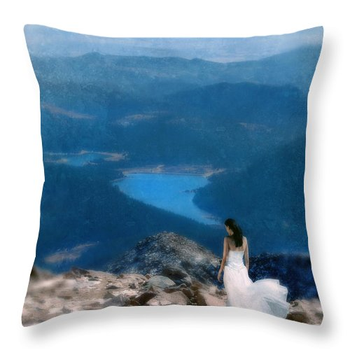 Woman Throw Pillow featuring the photograph Woman In White Gown On Mountain Top by Jill Battaglia
