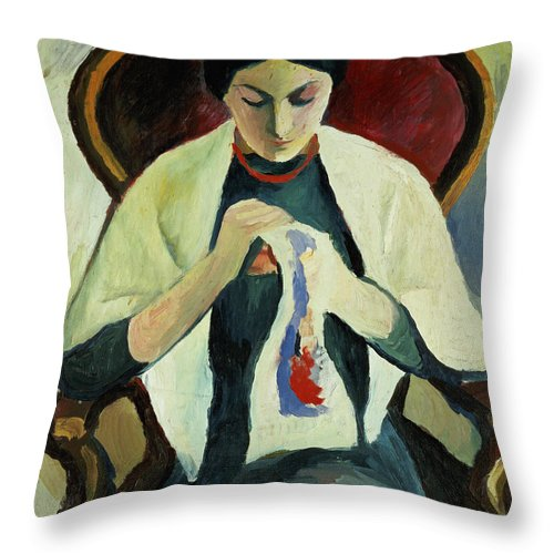 Woman Sewing By August Macke (1887-1914) Armchair; Portrait; Female Throw Pillow featuring the painting Woman Sewing by August Macke